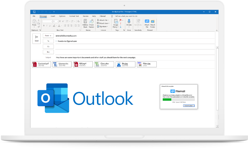 Our addin lets you send large files directly from Outlook, fast and securely